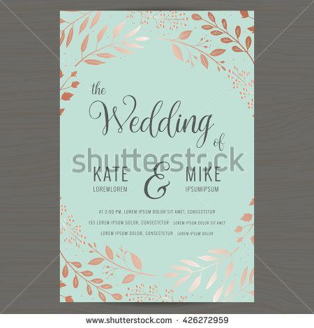 Save The Date Wedding Invitation Card Template With Copper Color