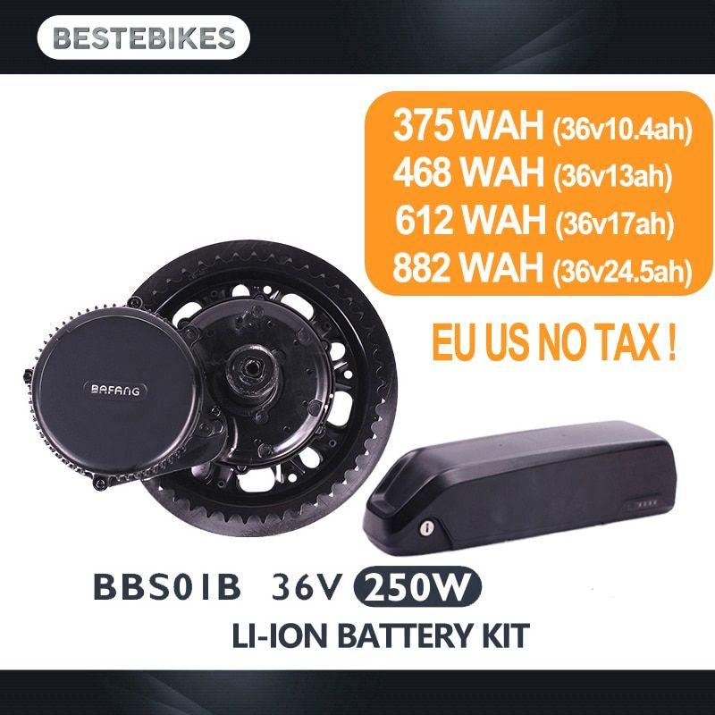 Bafang Motor Bbs01b 36v 250w Electric Bike Conversion Kit Batterie Velo Battery 10 4 13 17 24 5ah Eu Us Ca Aus Nz Ru No Tax