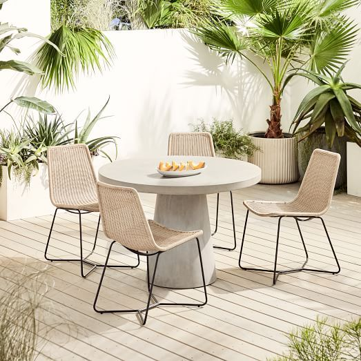 Outdoor Pedestal Dining Table & Slope Chairs Set