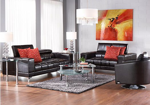 Shop For A Sofia Vergara Sybella Black Cherry Blended Leather 3 Pc Living Room At Rooms To Go Find Sets That Will Look Great In Your Home And