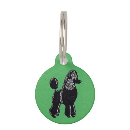 Black Standard Poodle Green Custom Dog Pet Tag; Abigail Davidson Art; All tags are ready to customize on the back with your pet's name and your phone number!