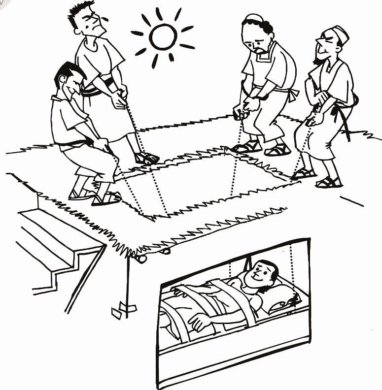 Paralyzed Man Lowered Through Roof Coloring Page Beautiful Man Lowered Through Roof In 2020 Sunday School Coloring Pages Jesus Heals Bible Verse Coloring Page
