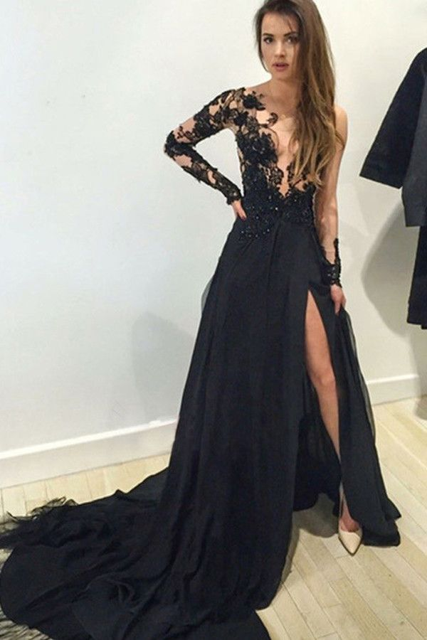 A-line V-neck Long Sleeves Appliques Black Evening Gowns Prom ...