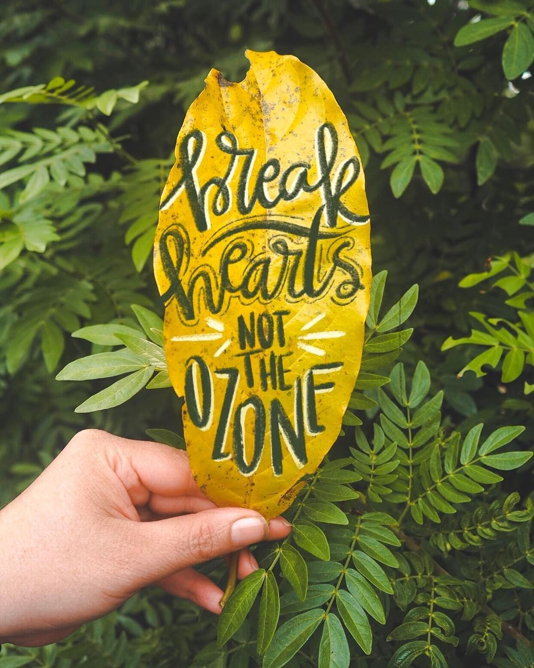 Break Hearts Not The Ozone Funny Environmental Quote Hand Lettering Typography Creative Nature By Dearj Environmental Quotes Eco Quotes Environment Quotes
