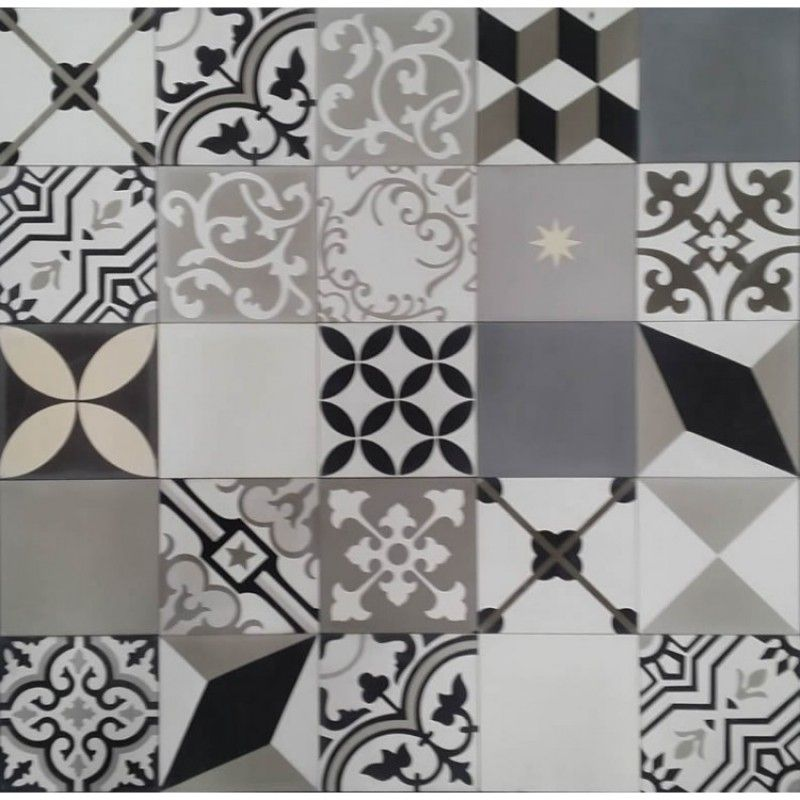 Moroccan Encaustic Cement Tile Random Mix Black White And Grey Black And White Bathroom Floor White Bathroom Tiles Moroccan Tiles Kitchen