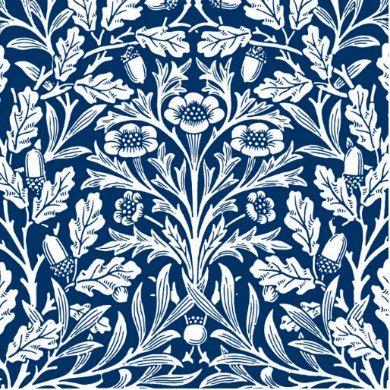 Art Nouveau Floral Damask, Cobalt Blue and White Tile ...
