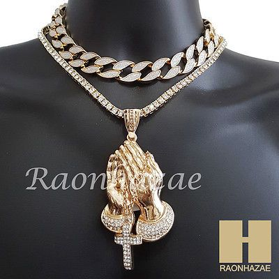 6448f80fa7a1d Hip Hop Iced Out Praying Hands Pendant 16