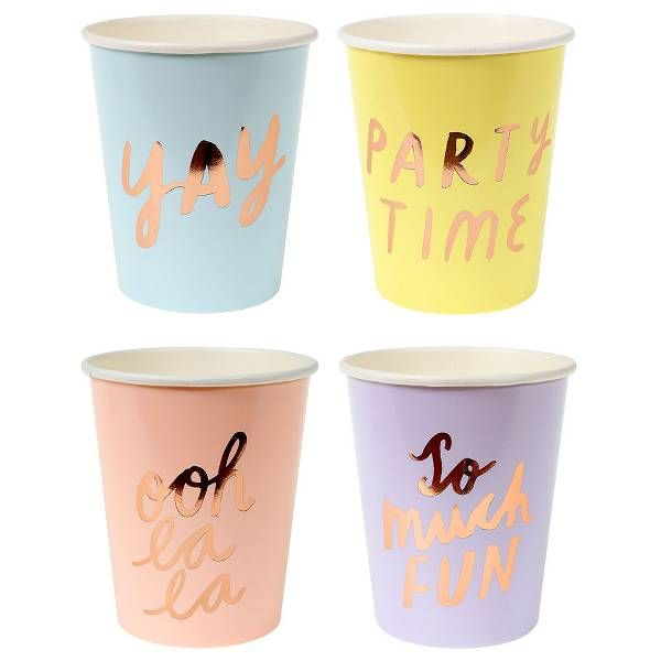 Rose Gold Typographic Party Cups