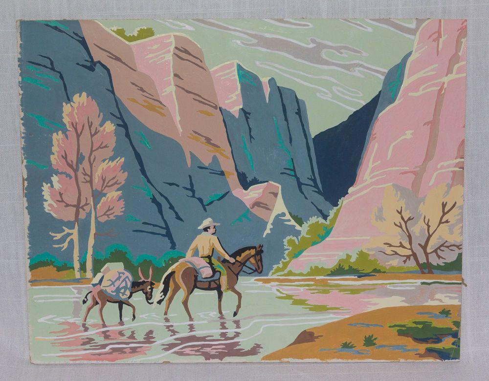 Vintage Paint By Number Cowboy Western Painting Pink Western