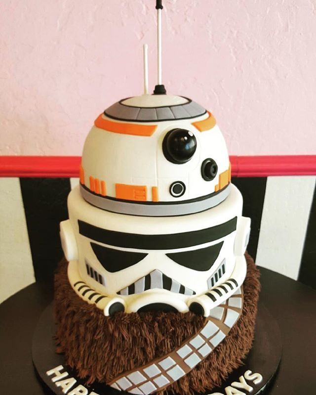 Amazing Star Wars Tiered Cake For Chewbacca Bb8 And Stormtropper