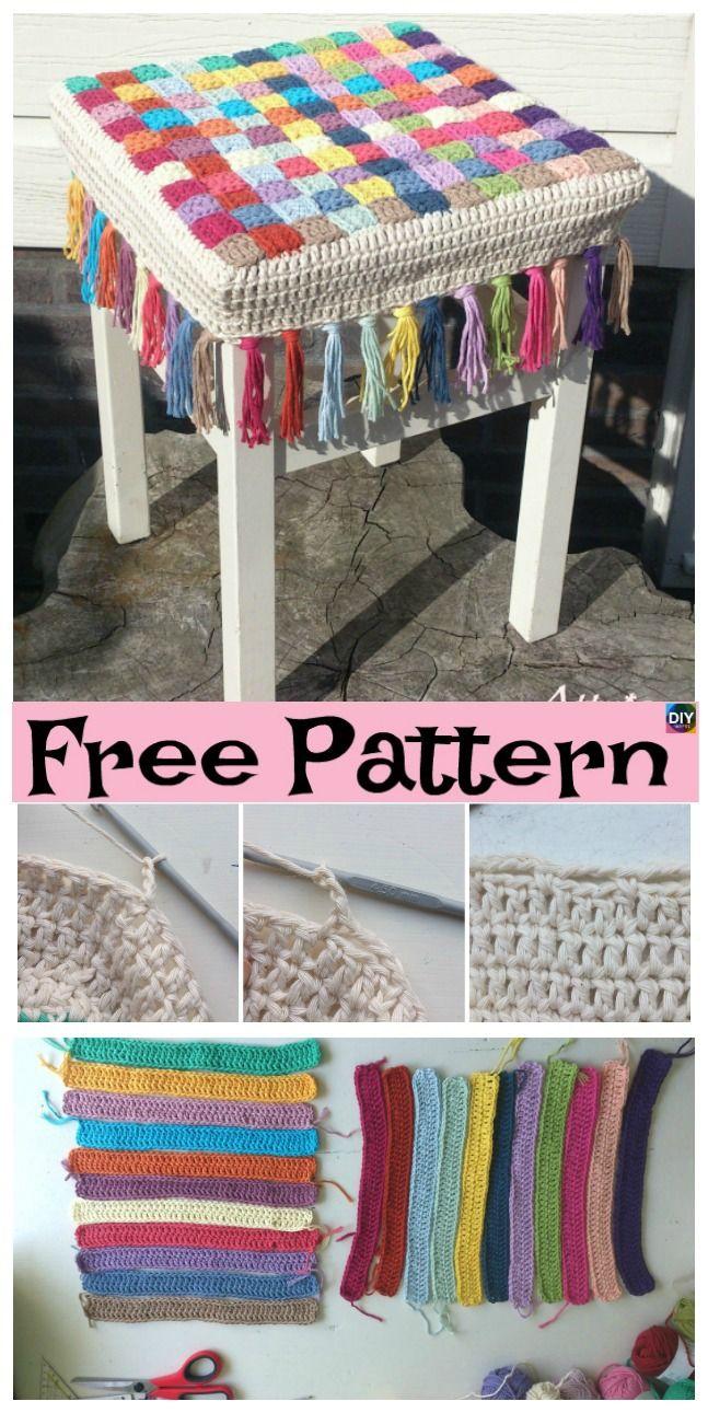 10 Beautiful Crochet Stool Cover Free Patterns Crochet Butterfly