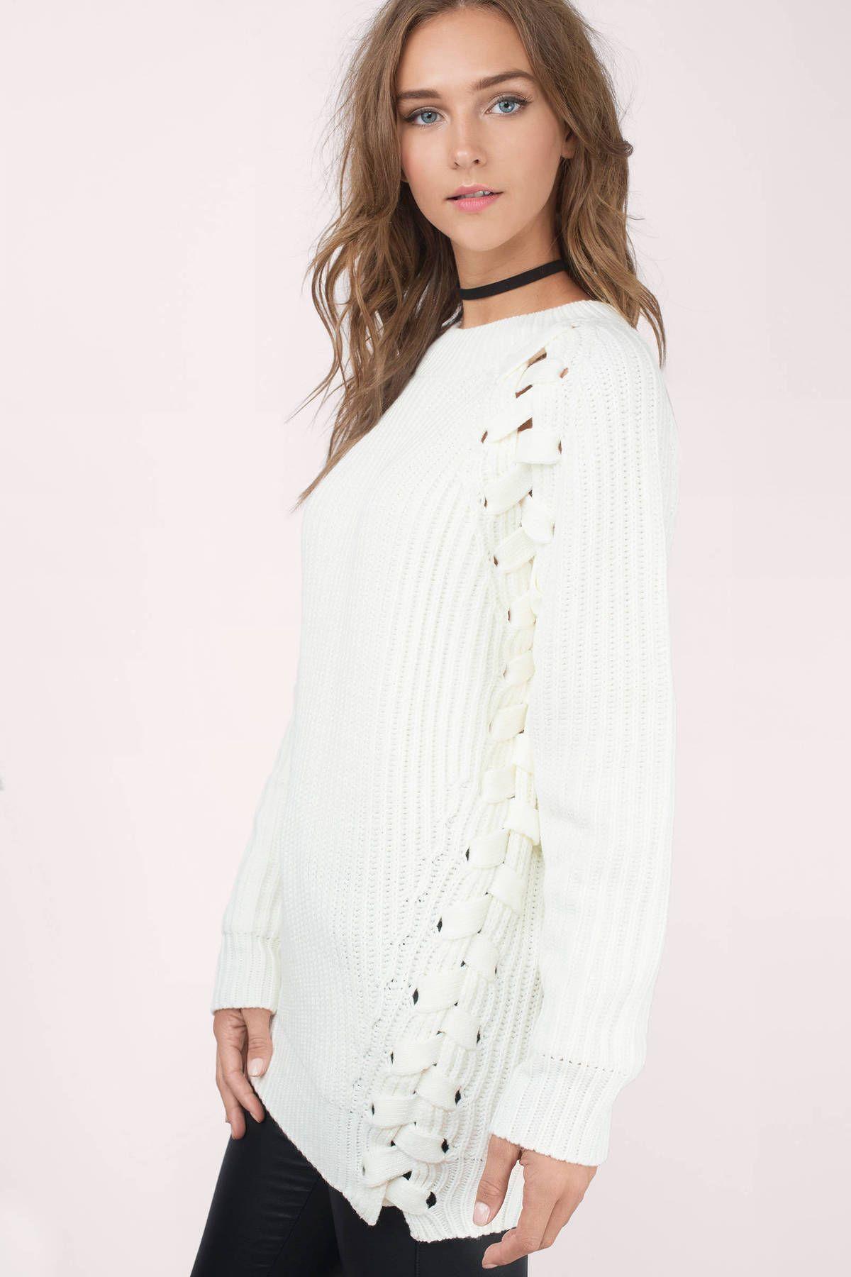 Clear Skies Lace Up Sweater at Tobi.com #shoptobi