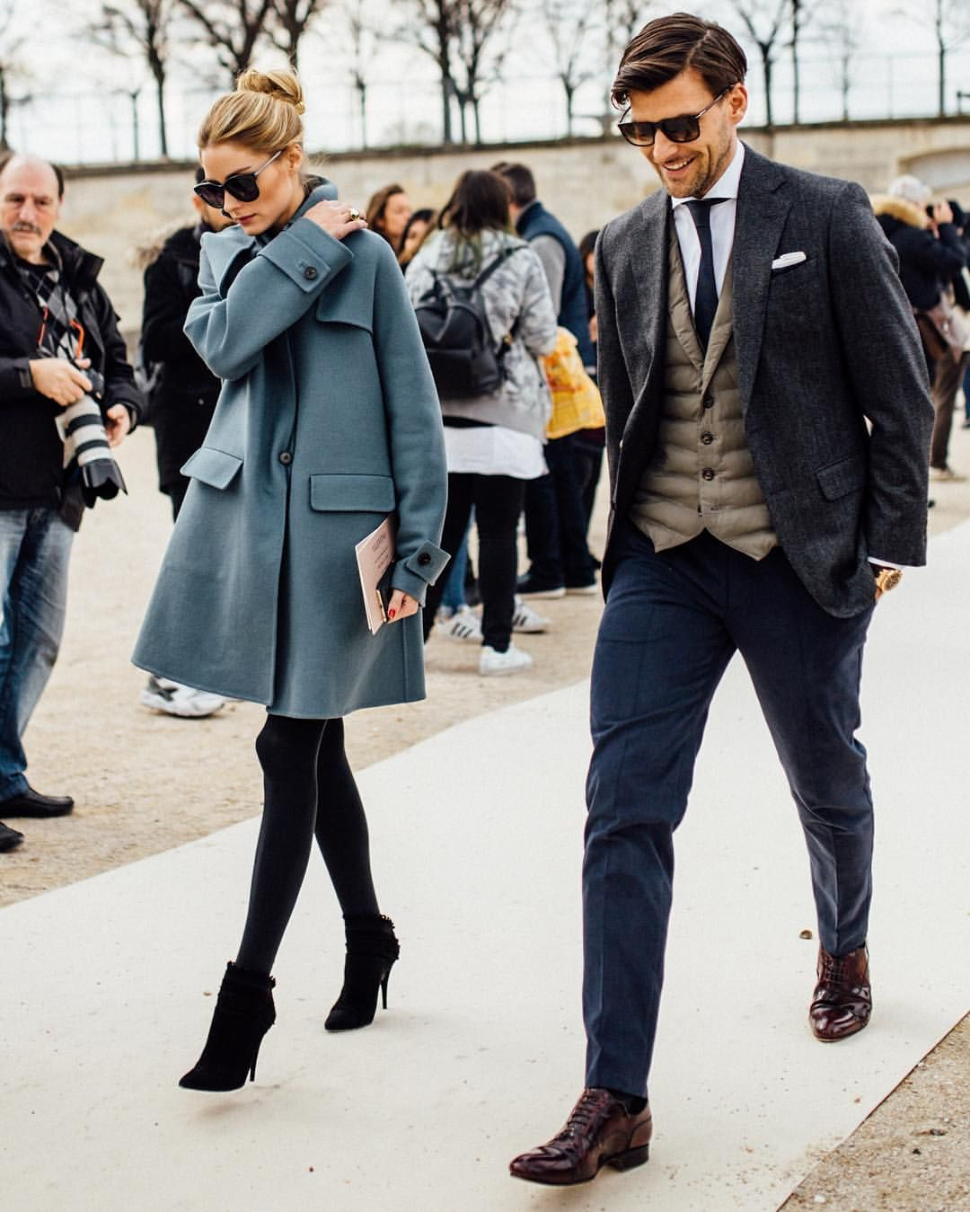 """Comb on Instagram: """"Paris Fashion Week: @oliviapalermo and @johanneshuebl leaving the Valentino Show."""""""