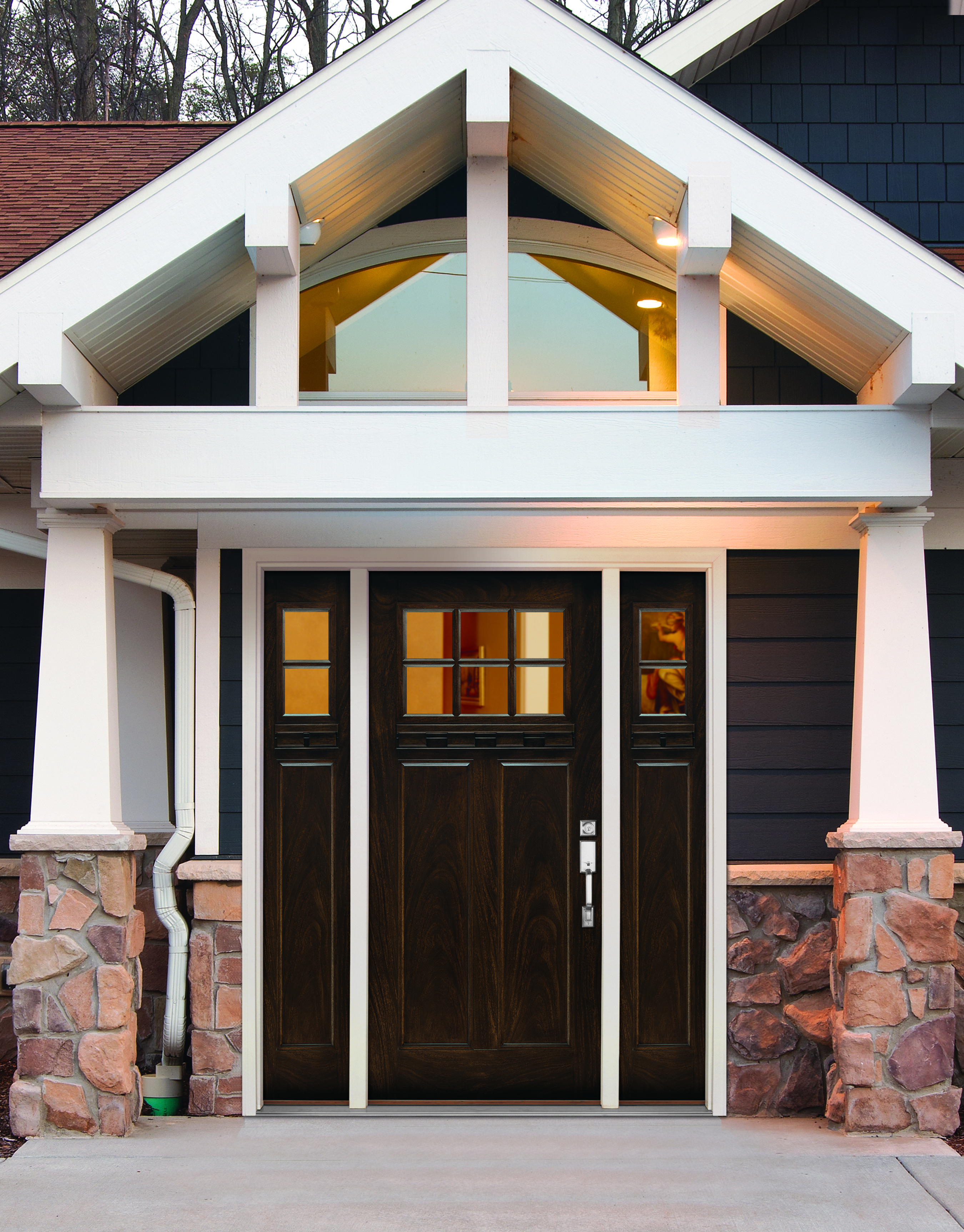 Craftsman style exterior window trim - Give Your House The Grand Entrance It Deserves Feather River Craftsman Style Doors Add Instant