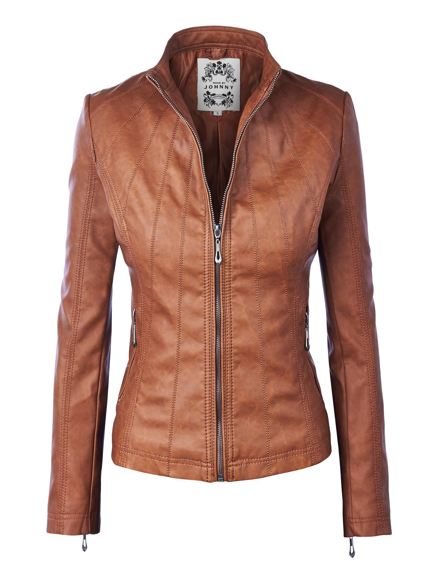 LL Womens Panelled Faux Leather Moto Jacket at Amazon