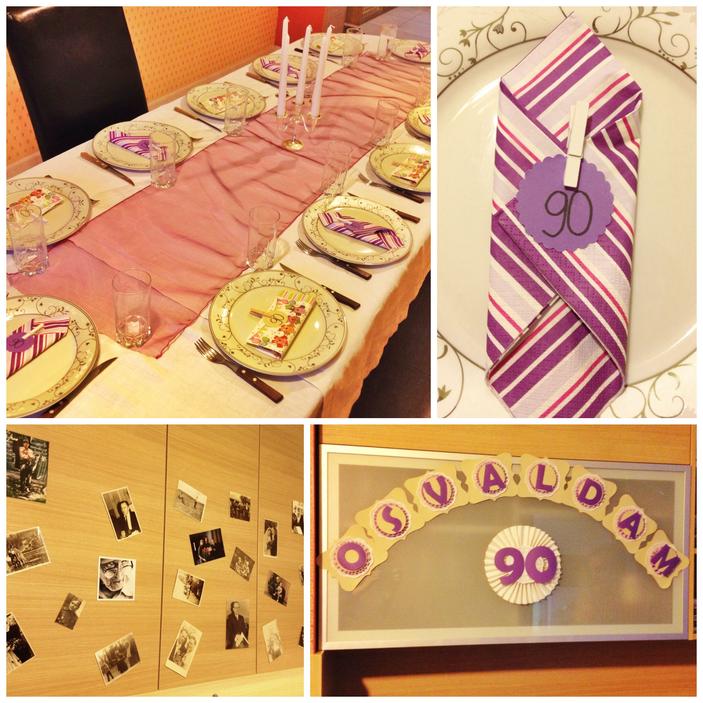 Table decoration for grandads 90's birthday- nothing fansy with some photos of his childhood, wedding day, job and nowadays.