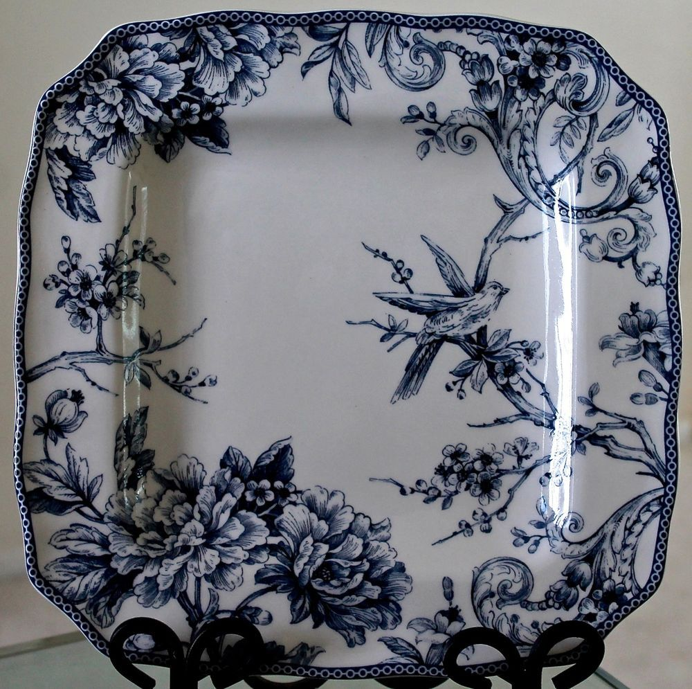222 fifth adelaide blue new 10 3/4 inch dinner plates square porcelaine set of 4 & 222 fifth adelaide blue new 10 3/4 inch dinner plates square ...