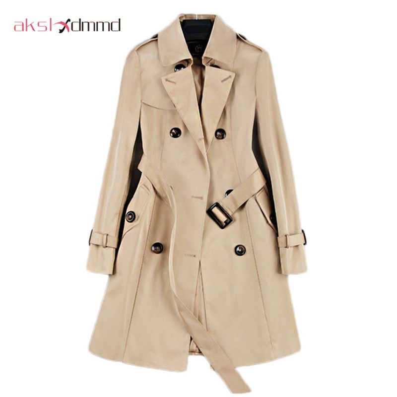 2017 New Fashion Double Breasted Mid-long Trench Coat Women Khaki ... 9128bb2617