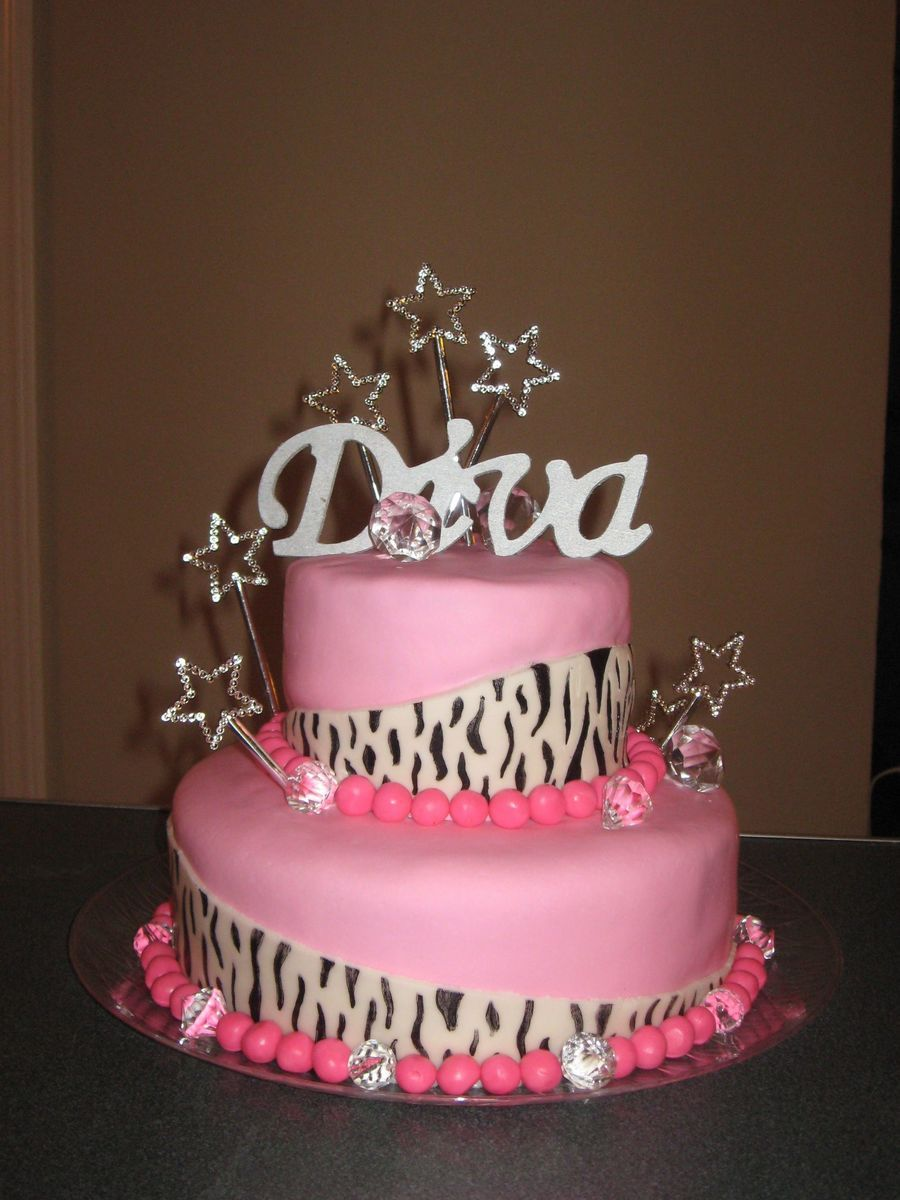 Super Diva Birthday Cake With Images Diva Birthday Cakes Diva Cakes Funny Birthday Cards Online Alyptdamsfinfo