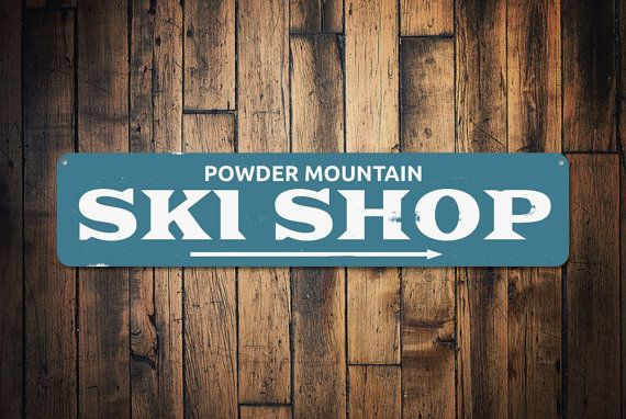 Ski Shop Arrow Sign Personalized Mountain by LiztonSignShop