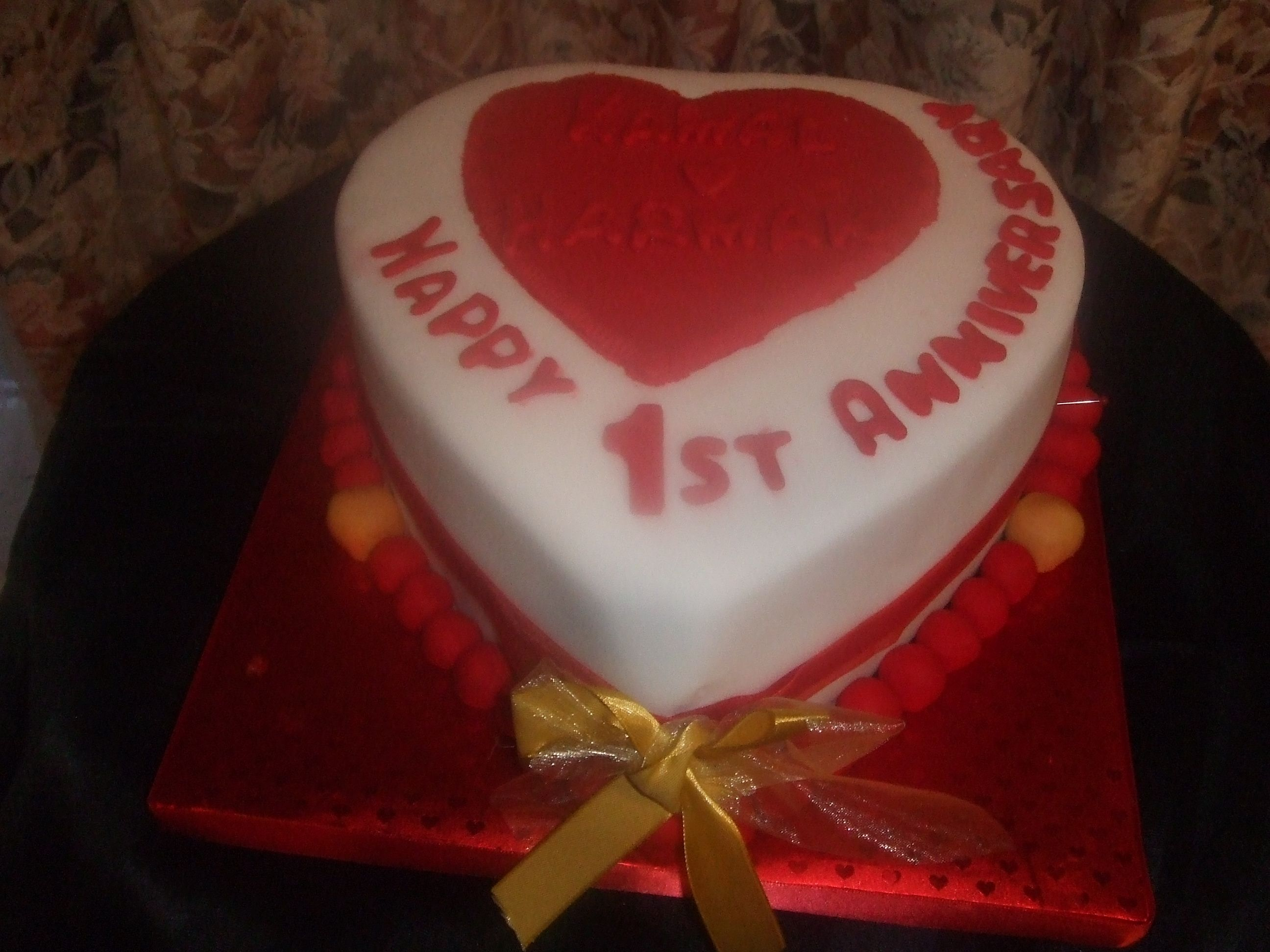 One tier chocolate cake was for this st anniversary cake cakes