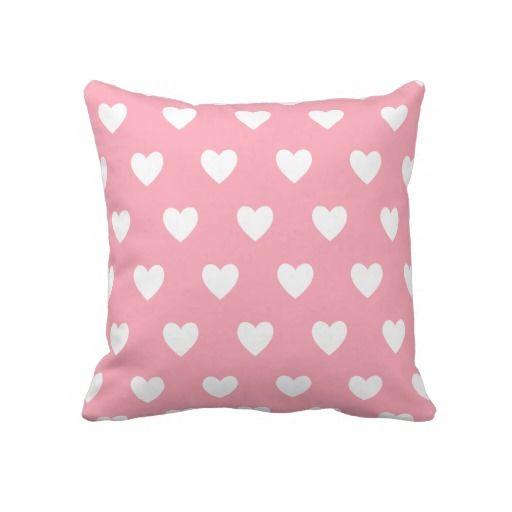 """Pretty Pink Polka Heart Wallpaper Design. Throw Pillow 20"""" x 20""""."""