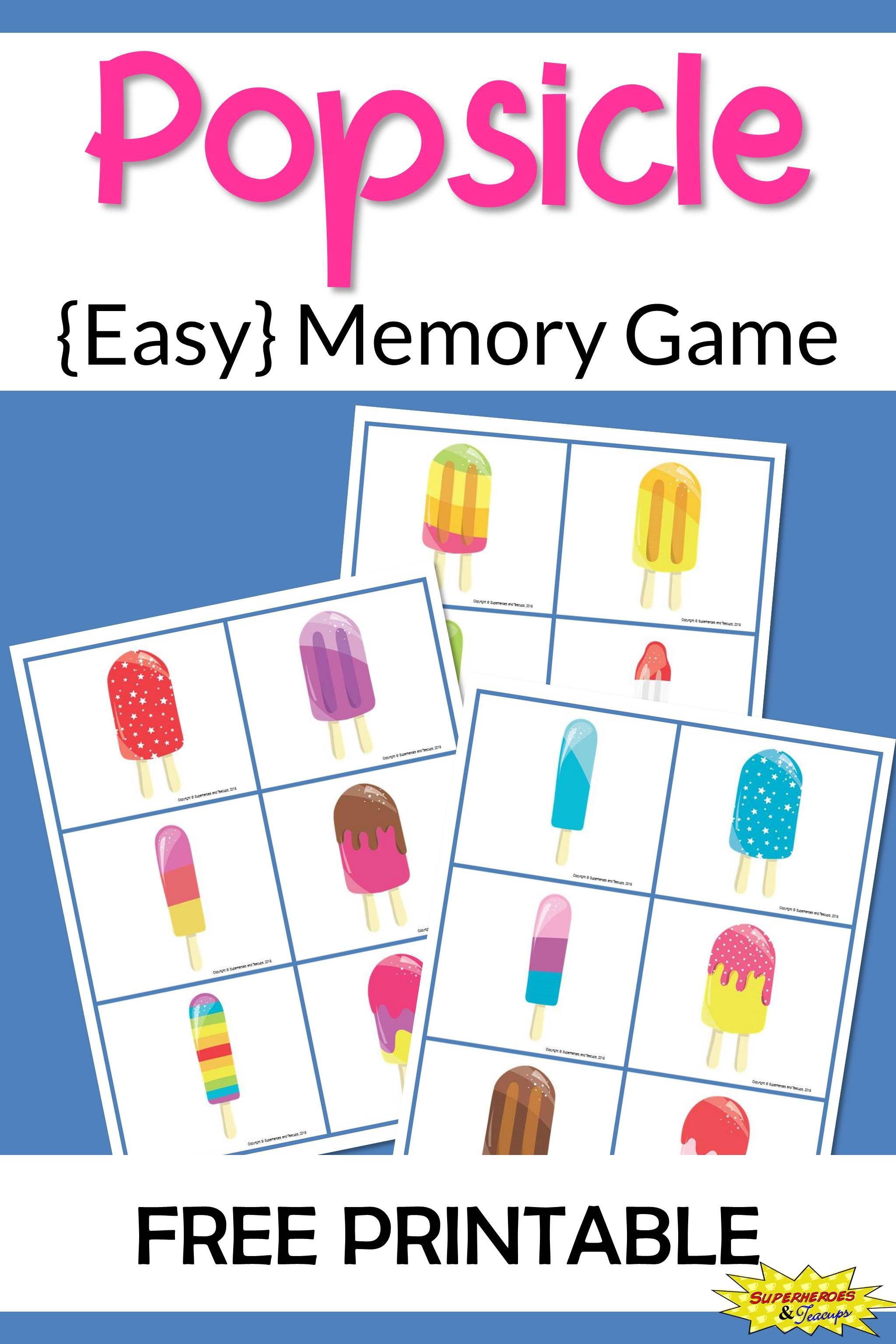 Popsicle Memory Game Free Printable For Kids