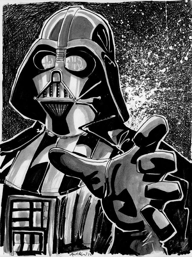 Sketch 001 of 100 DARTH VADER by misfitcorner  Star Wars