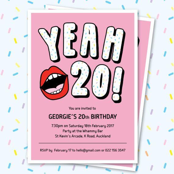 20th birthday invitation sassy yeah 20