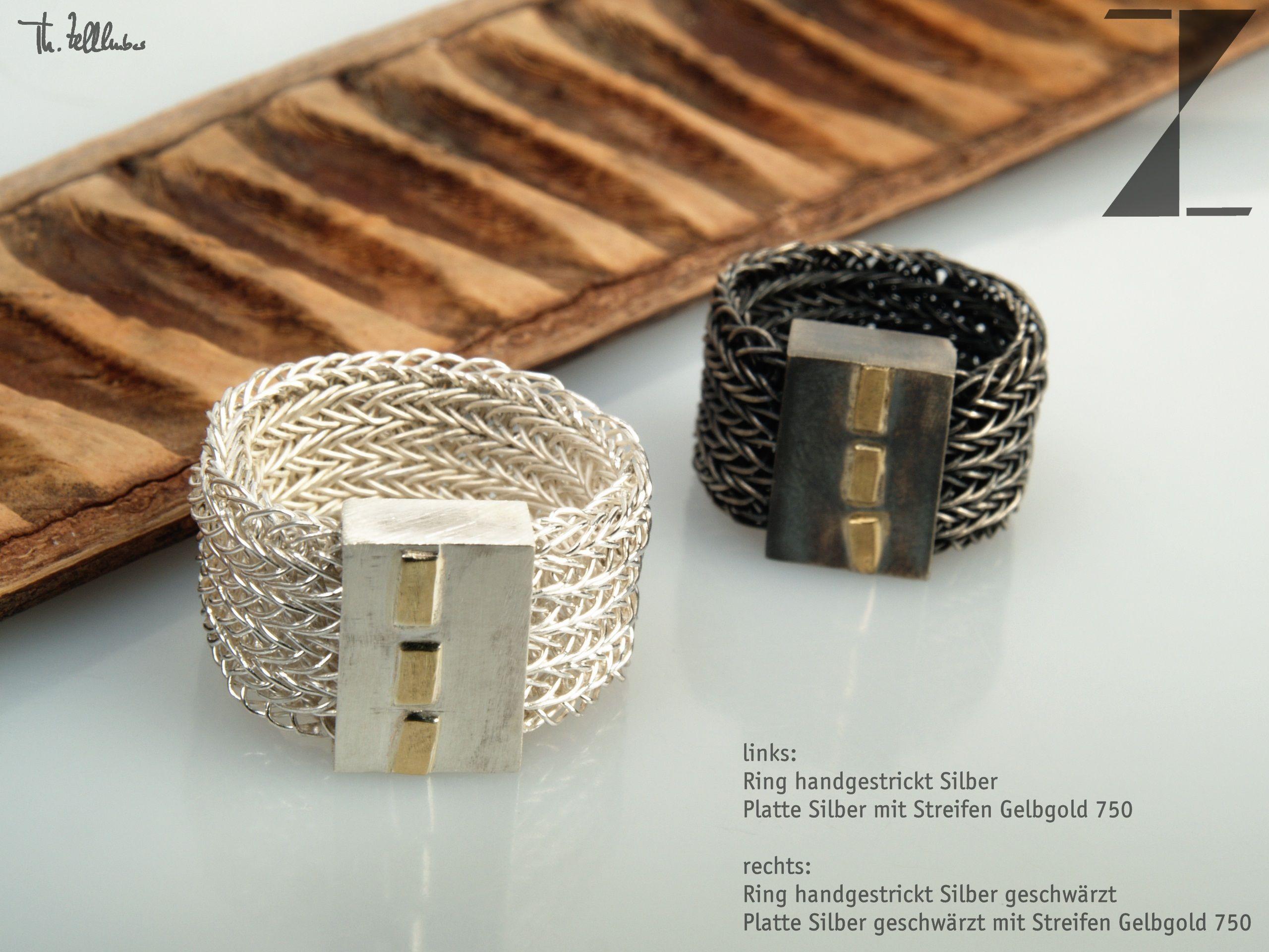 links: Ring handgestrickt Silber, Platte Silber mit Streifen in ...