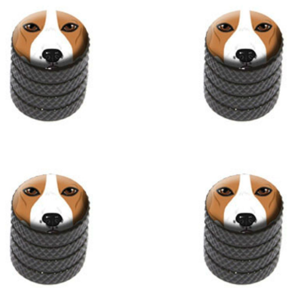 """(4 Count) Cool and Custom """"Diamond Etching Beagle Dog Top with Easy Grip Texture"""" Tire Wheel Rim Air Valve Stem Dust Cap Seal Made of Genuine Anodized Aluminum Metal {Black and Brown Colors}"""