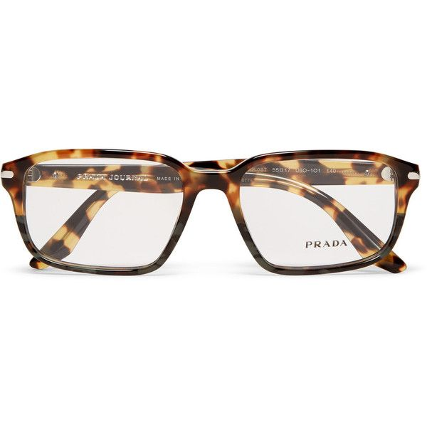 861b2386f948 Prada Havana Square-Frame Tortoiseshell Acetate Optical Glasses ( 300) ❤  liked on Polyvore featuring men s fashion