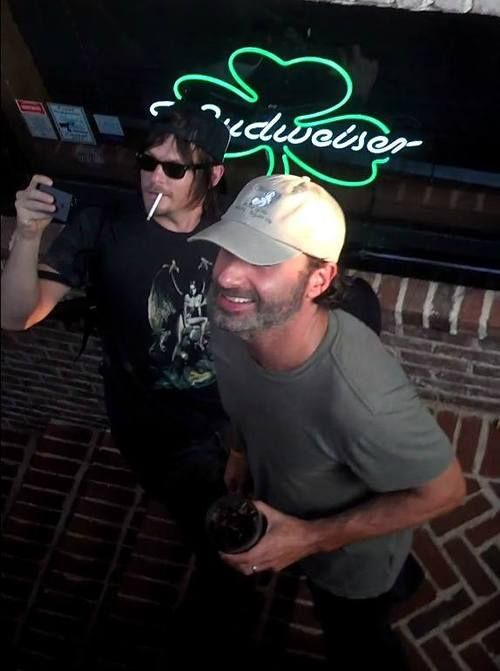 Norman Reedus & Andrew Lincoln...love the shamrock in the back reminds me of TBS