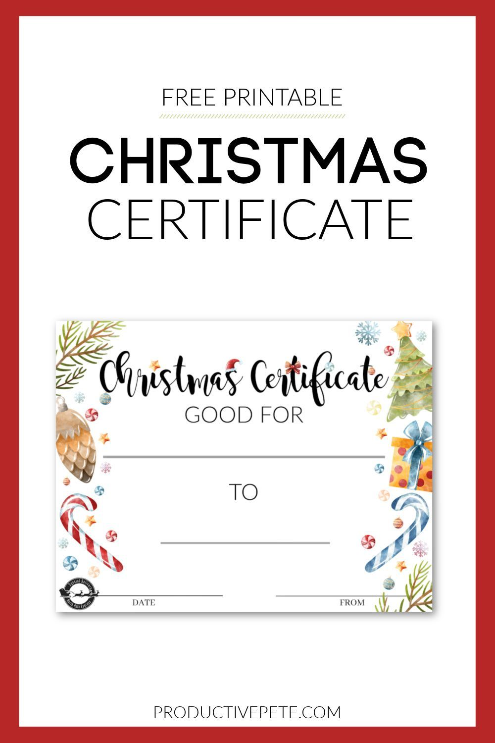 Printable Christmas Gift Certificate Perfect For Personalized Gifts Christmas Gift Certificate Template Christmas Gift Certificate Printable Gift Certificate Christmas certificate template free download