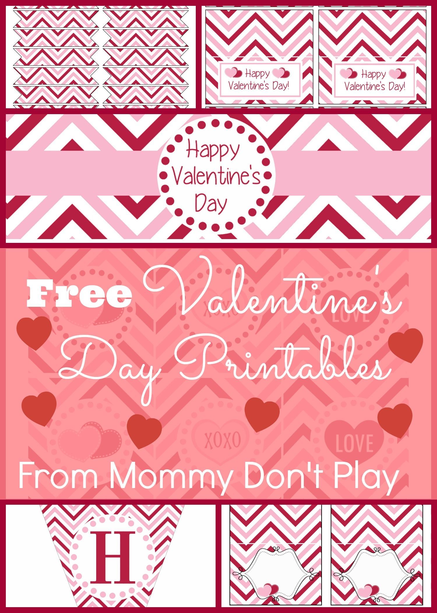 Free Pink And Red Chevron Valentine S Day Printables