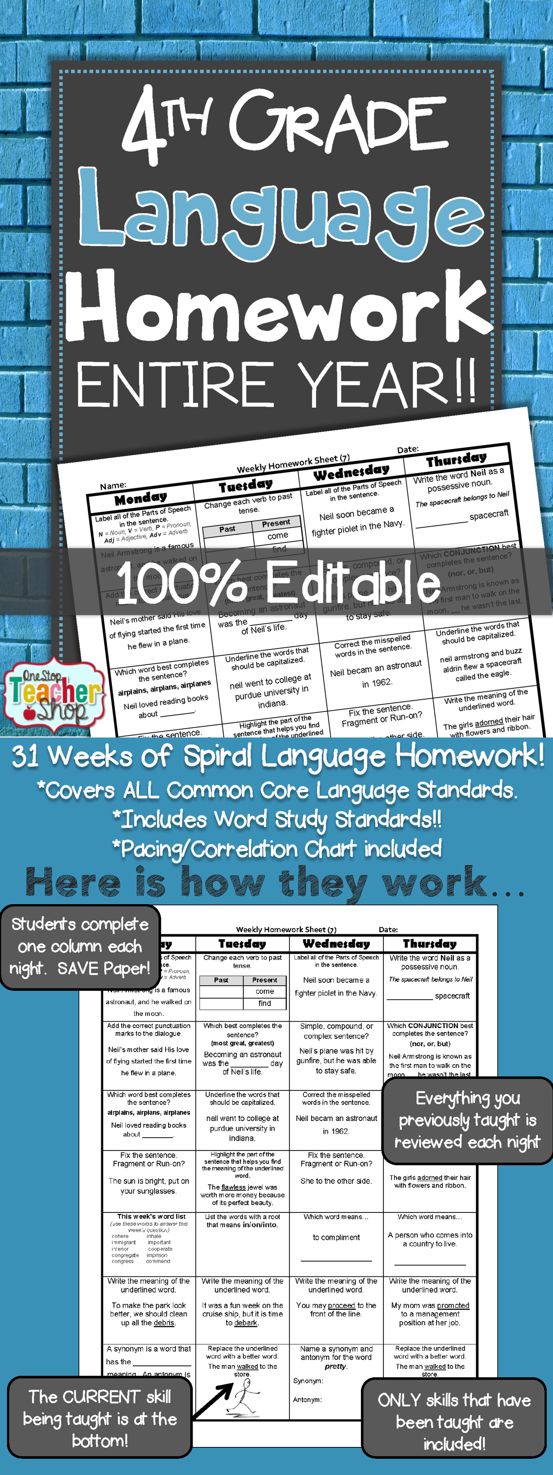 4th Grade Language Spiral Review Amp Quizzes