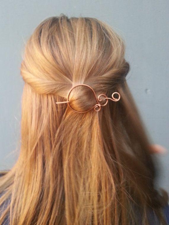 Copper, hair pin, wire, hair clip, hair barrette, shawl pin, scarf pin, brooch, hair accessories, hair slide, oxidizided, for her