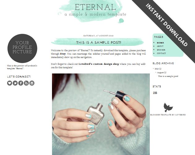 Free Blogger template download: Eternal! / SCRIBBLES OF VALÉRIE ...