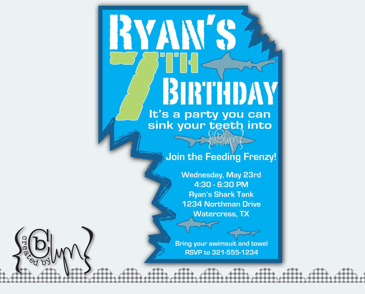 Shark Attack Birthday Party invitation with two shark bites cutout