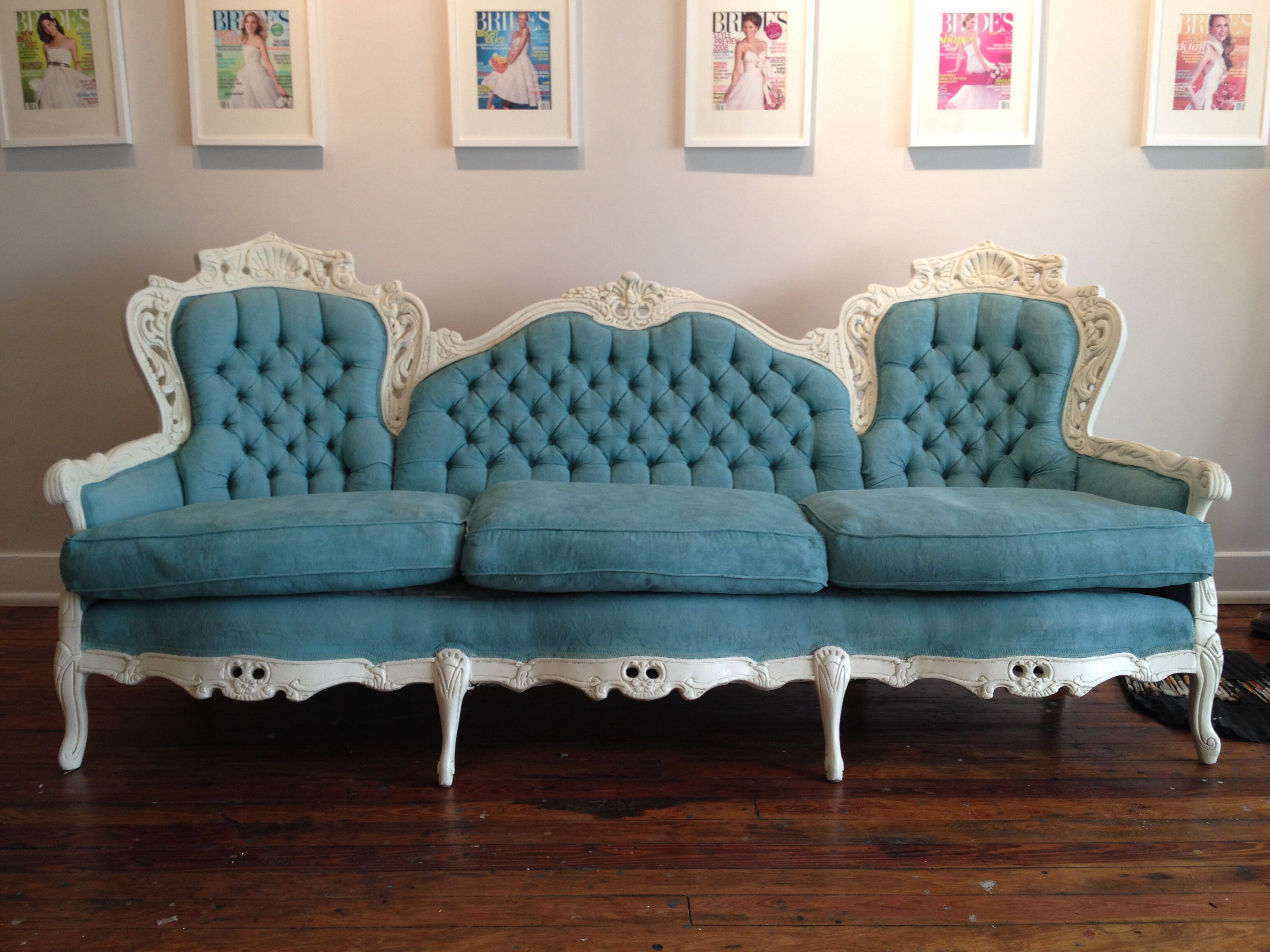 Vintage Italian Sofa Redesigned With Chalk Paint In Provence And Old White Custom Painted For A Wedding Event By Tlc Design Studio