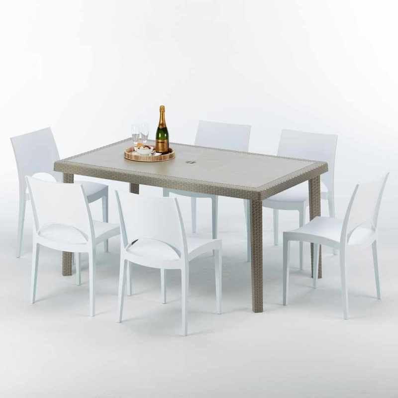 Table Rectangulaire Et 6 Chaises Poly Rotin Resine Ensemble Bar Cafe Exterieur 150x90 Beige Marion Paris Blanc S7050setj6pb Table Home Decor Dining Table