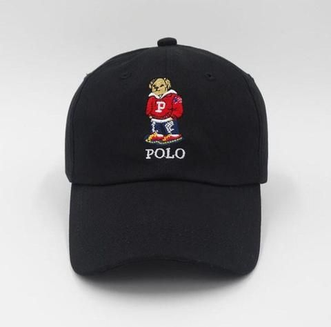 7e9e5bb0ade Black Polo Bear Dad Hat - Genuine Caps  dadhats