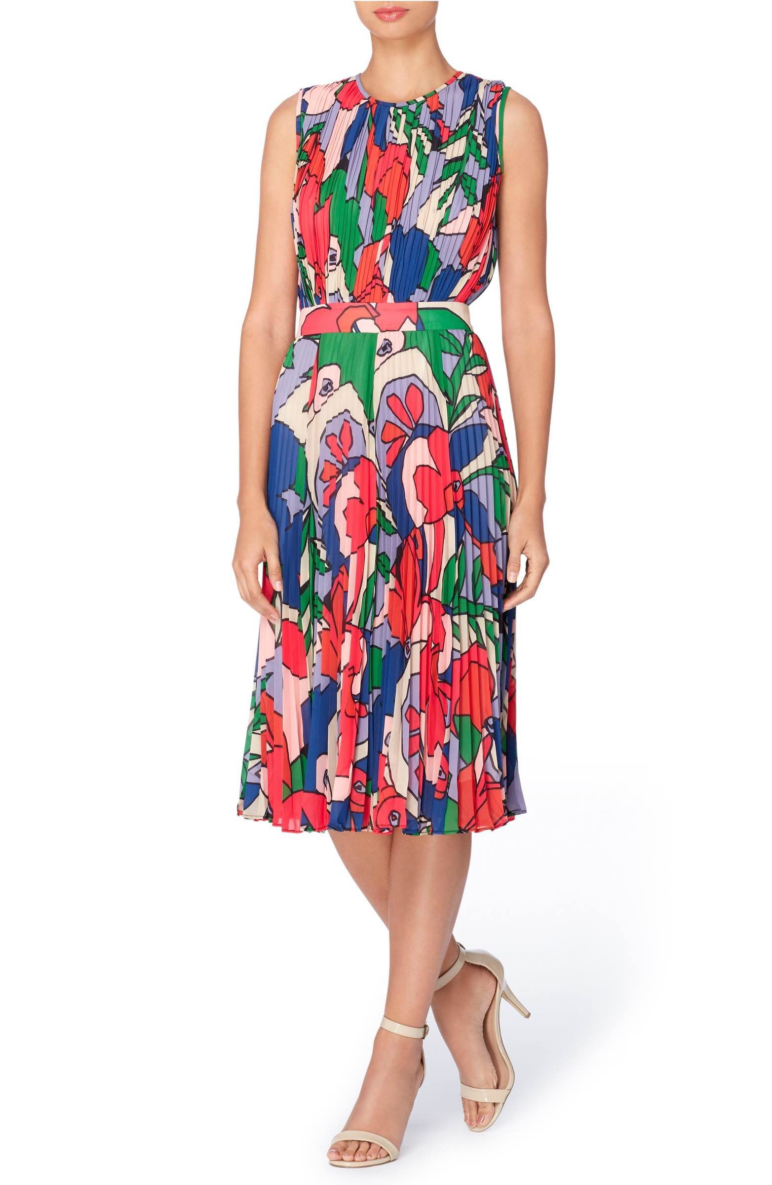Main Image - Cateherine Catherine Malandrino Desree Pleat Midi Dress