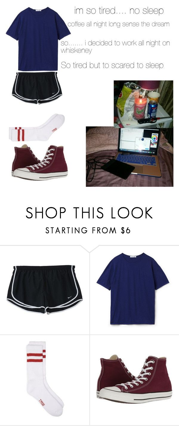"""stayed up all night sense the dream"" by mountaindewqueen15 ❤ liked on Polyvore featuring NIKE, Lacoste and Converse"