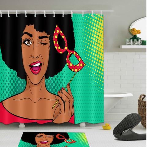 Afrocentric Shower Curtain Curtains Pop African American Theme Themed Natural Hair Hip Hop Home Decor Bathroom Unique Urban Bath Tub Decoration Idea Design