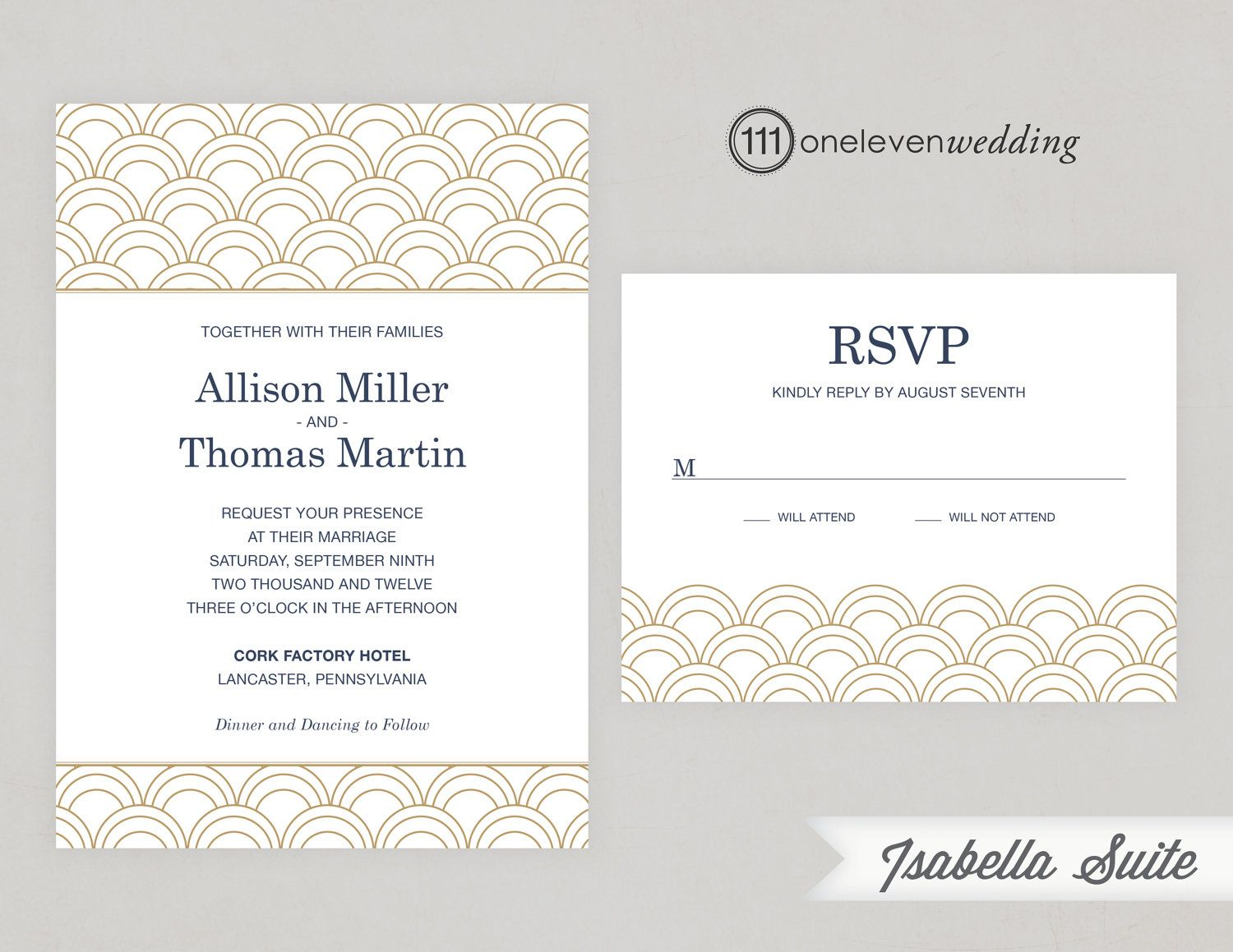 Isabella Glamorous Art Deco Printable Digital Wedding Invitation ...