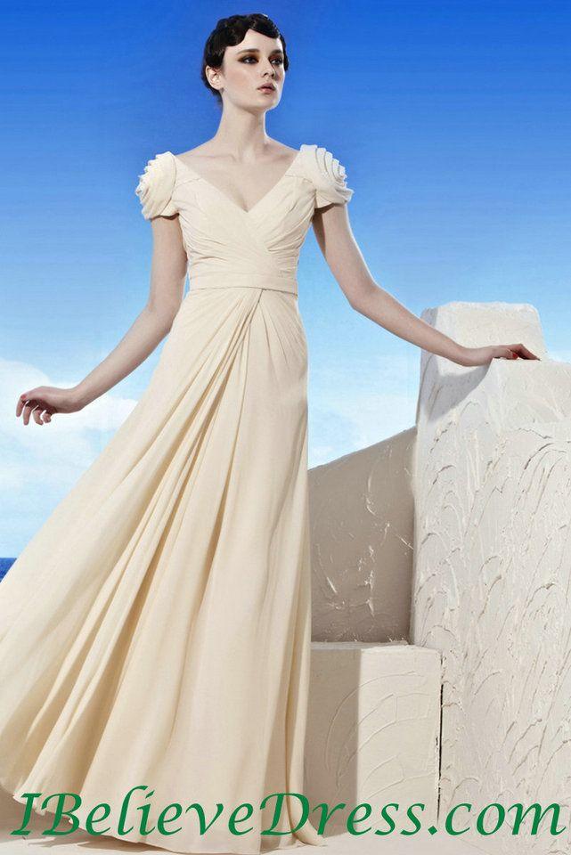 Chiffon Cap Sleeves Modest Evening Gowns Full Length Cheap Patterns ...