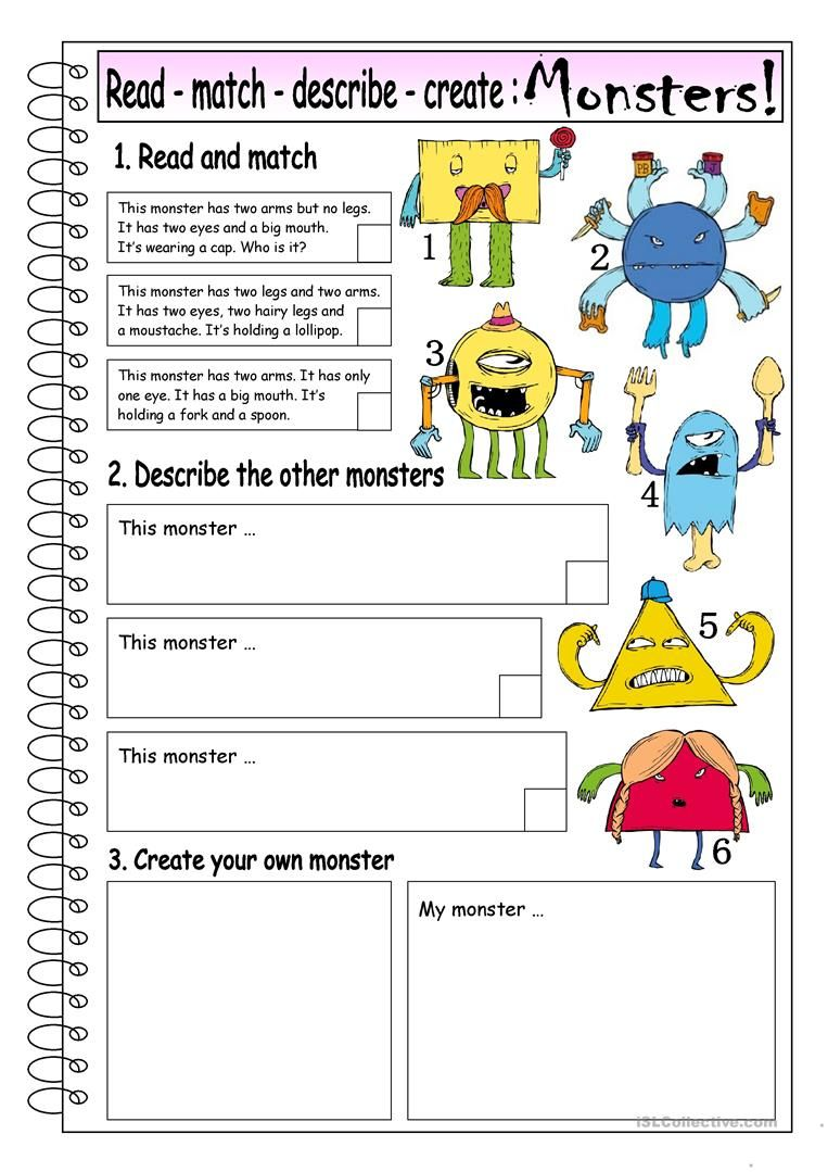 Read Match Describe Create MONSTERS (1) worksheet