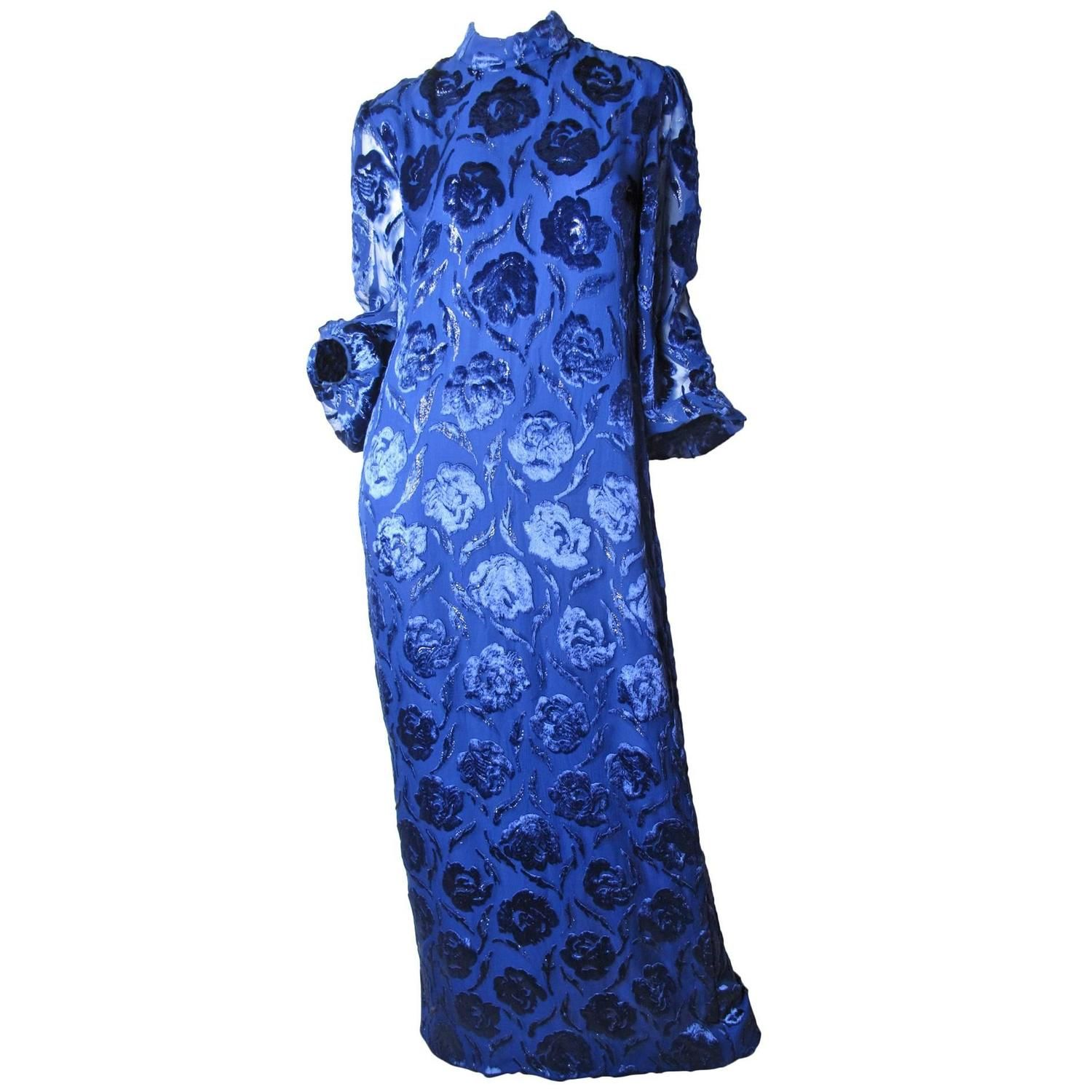 Adele simpson royal blue floral burnt velvet evening gown adele