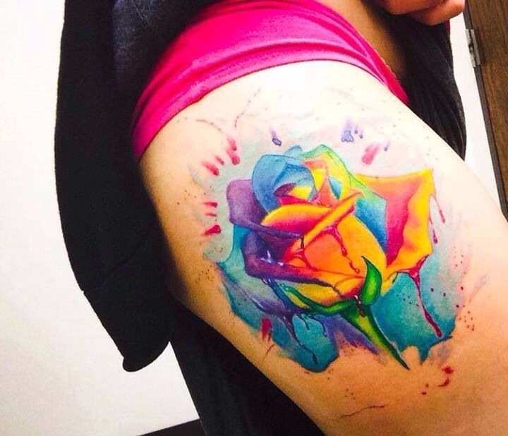 Pretty Colorful Flower Tattoos: Pretty Cool Water Color Tattoo